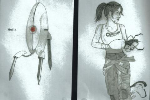 aisha_2015-03 - Portal - 3 drawings - Girl - Turret - Peanut